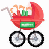 Baby carriage. Its twins boys. Vector illustration Stock Image