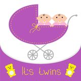 Baby carriage. Its twins girls. Shower card. Flat Stock Photo