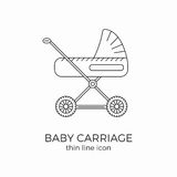 Baby carriage line icon. Flat design. Poster or infographic element vector illustration