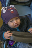 Baby in carriage royalty free stock photography