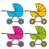 Baby carriage. Multi-colored variants. Apartment.  object. Royalty Free Stock Image