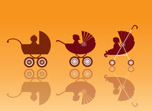 Baby carriage on orange backgrounds ,pram, illustration Stock Photo