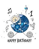 Baby carriage, ornate silhouette for your design stock photos