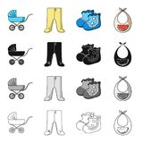 Baby carriage, pantyhose, children`s booties, breast bib. Baby care set collection icons in cartoon black monochrome. Outline style vector symbol stock stock illustration