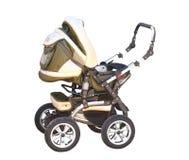 Baby carriage ( perambulator). Modern beautiful perambulator.An isolated object. A white background Stock Image