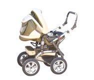 Baby carriage ( perambulator). Modern beautiful perambulator. An isolated object. A white background Royalty Free Stock Photo