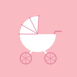 Baby carriage. Baby carriage on pink. Flat vector illustration
