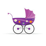 Baby carriage in pink for girl vector illustration Royalty Free Stock Image