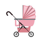 Baby carriage with pink layette Stock Photography