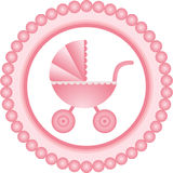 Baby carriage pink round label Stock Photos