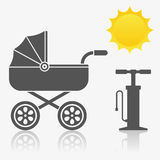 Baby carriage, pump and sun icon. Baby carriage, pump and sun - icon set stock illustration