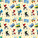 Baby carriage seamless pattern Stock Photo