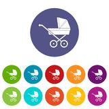 Baby carriage set icons Stock Images