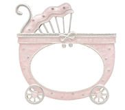 Baby carriage shaped frame on white Stock Image