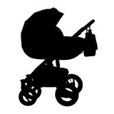 Baby carriage silhouette. Isolated stroller. Vector. Stock Photography
