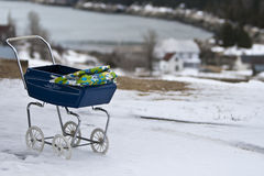 Baby carriage in the snow Royalty Free Stock Photo