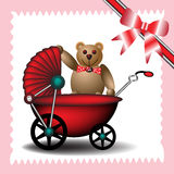 Baby carriage with teddy bear Stock Images