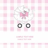 Baby carriage with a teddy bear Stock Images