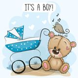 Baby carriage and Teddy Bear. Greeting card its a boy with baby carriage and Teddy Bear royalty free illustration