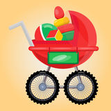 Baby carriage with toys Royalty Free Stock Images