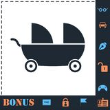 Baby carriage for two baby icon flat stock illustration