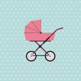 Baby carriage. Vector background with pram. Vector illustration Stock Photos