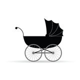 Baby carriage vector illustration in black. On white Royalty Free Stock Photo