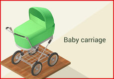 Baby carriage vector isometric flat Stock Photos