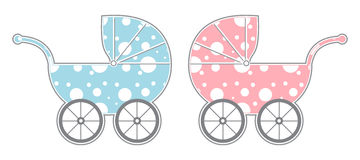 Baby Carriages. Isolated girl and boy baby carriages with cute dot pattern Stock Photo