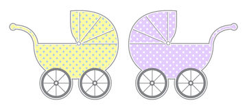 Baby Carriages. Isolated baby carriage silhouette with cute pattern Royalty Free Stock Photo