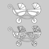 Baby carrige for twins. Illustration in doodle and cartoon style. Outline. vector illustration