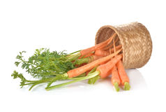 Baby carrot with leaves and bamboo basket on white Stock Images