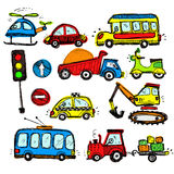 Baby cars set. funny baby toys. vector doodle collection Royalty Free Stock Images