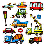 Baby cars set. funny baby toys. vector doodle collection Stock Images