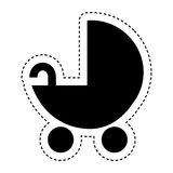 baby cart silhouette isolated icon Royalty Free Stock Photos