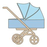 Baby cart trolley isolated icon stock illustration