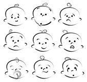 Baby cartoon face. Vector set of baby cartoon face
