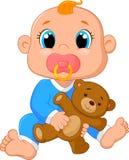 Baby cartoon holding a teddy bear. Illustration of Baby cartoon holding a teddy bear Stock Photo