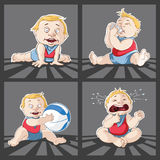 Baby Cartoon Little Boy Playing Crying Feeding Poses Stock Images