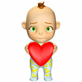 Baby Cartoon in Love royalty free illustration