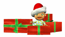 Baby Cartoon with presents Royalty Free Stock Photography