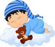 Baby cartoon sleeping cloud. Illustration of Baby cartoon sleeping cloud Stock Photo