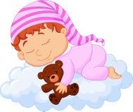 Baby cartoon sleeping on the cloud. Illustration of Baby cartoon sleeping on the cloud Stock Images