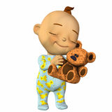 Baby Cartoon with a Teddy Bear Royalty Free Stock Photo