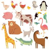 Baby cartoons wild bear, giraffe, crocodile, bird and domestic a. Nimals. Cute cartoon animal kids  illustration set Stock Images
