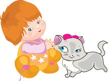 Baby with a cat. Cute Baby with a cat Royalty Free Stock Image