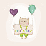 Baby Cat with Balloons - Baby Shower or Arrival Card Royalty Free Stock Photos