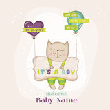 Baby Cat with Balloons - Baby Shower or Arrival Card Stock Image