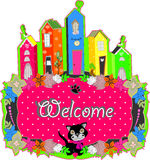 Baby cat hold a welcome sign Stock Photo
