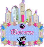 Baby cat hold a welcome sign Royalty Free Stock Image